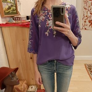 Embroidered Cross Stitch Blouse M